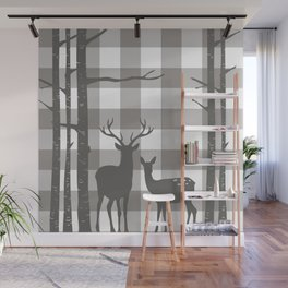 Deer & Birch Grey Plaid Wall Mural
