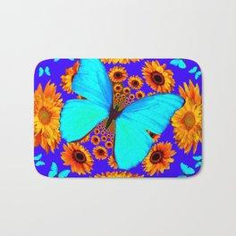 Turquoise Butterflies Golden Sunflowers Blue Abstract Bath Mat