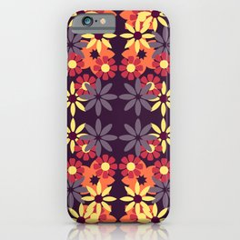 pattern with leaves and flowers doodling style iPhone Case
