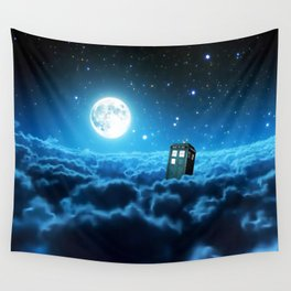 Tardis Cloud And Moon Wall Tapestry
