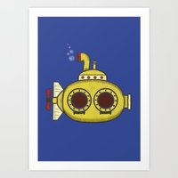 yellow submarine Art Prints featuring Yellow submarine by Posterity