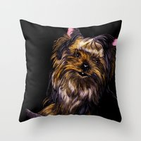 yorkie Throw Pillows featuring Yorkie Terrier by Eliza Leahy