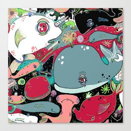 whale narwhal hammerhead shark sealife Canvas Print