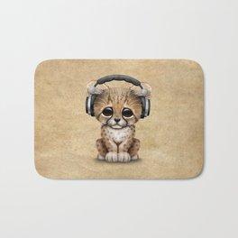 Cute Cheetah Cub Dj Wearing Headphones Bath Mat