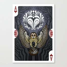 Owl Deck: Ace of Hearts Canvas Print