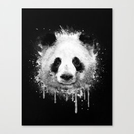 Cool Abstract Graffiti Watercolor Panda Portrait in Black & White  Canvas Print