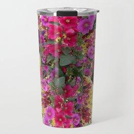 CORAL PINK & HOLLYHOCKS ABSTRACT GARDEN Travel Mug