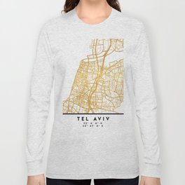 TEL AVIV ISRAEL CITY STREET MAP ART Long Sleeve T-shirt