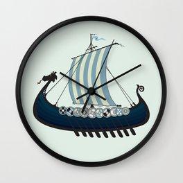Blue viking ship Wall Clock
