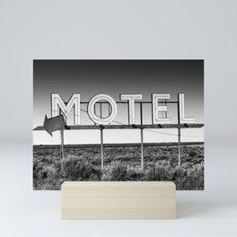 Motel Nowhere in Black and White Mini Art Print