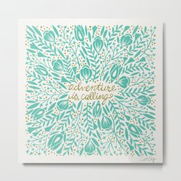 Adventure is Calling – Turquoise & Gold Palette Metal Print