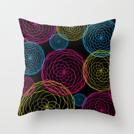 Spiro Blooms in Noir Throw Pillow