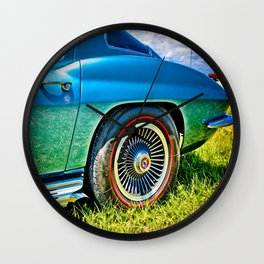 Blue Chevrolet Corvette Sting Ray Wall Clock