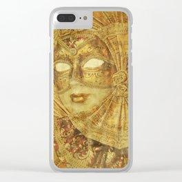Golden Venetian mask Clear iPhone Case