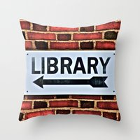 library Throw Pillows featuring Library by Biff Rendar