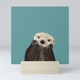 Cute Sea Otter on Teal Solid. Minimalist. Costal. Adorable. Mini Art Print
