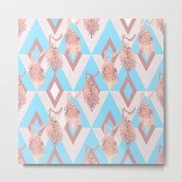 Beautiful Geometric Australian Native Floral Print - Soft pink and blue Metal Print