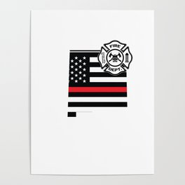 New Mexico Firefighter Shield Thin Red Line Flag Poster
