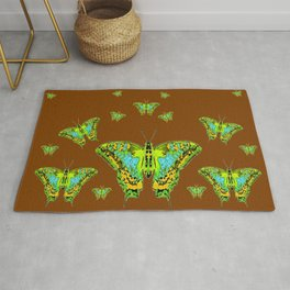 GREEN-YELLOW MOTHS ON COFFEE BROWN Rug