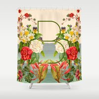 botanical Shower Curtains featuring Botanical by Blue Jean Genie