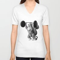 crossfit V-neck T-shirts featuring Crossfit Squirrel by The Elfin Artist