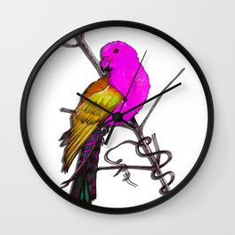 One King Parrot - Pink Wall Clock