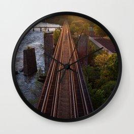 Setting Sun Over The Tracks Wall Clock