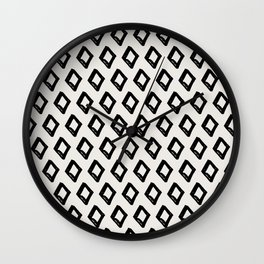 Modern Diamond Pattern 2 Black on Light Gray Wall Clock