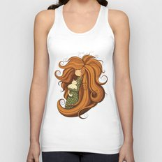 Girl and white cat Unisex Tank Top