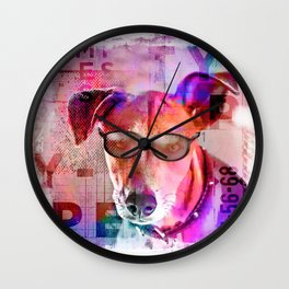 Cool Hipster Dog With Sunglasses Wall Clock