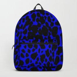 ANIMAL PRINT CHEETAH LEOPARD BLACK AND BLUE INDIGO SAFARI PATTERN Backpack