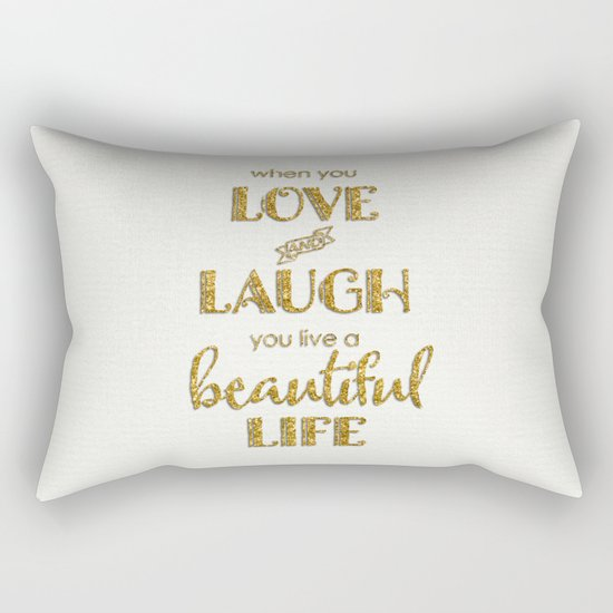 When you - Gold glitter typography on white backround Rectangular Pillow