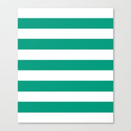 Paolo Veronese green - solid color - white stripes pattern Canvas Print