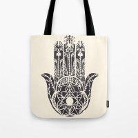 hamsa Tote Bags featuring Hamsa by Hannah Gordon