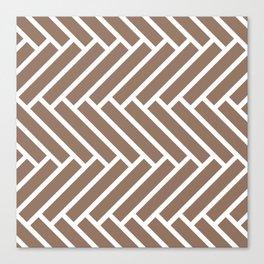Dark beige and white herringbone pattern Canvas Print