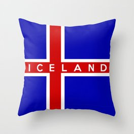 iceland country flag name text  Throw Pillow