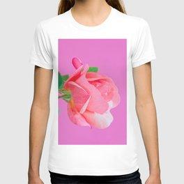 Macro pink rose flower T-shirt