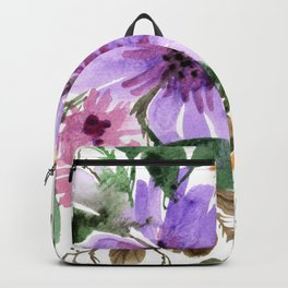Purple and Pink Watercolor Bouquet Backpack