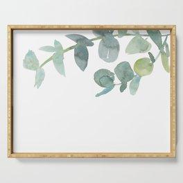 Eucalyptus greenery on white Serving Tray