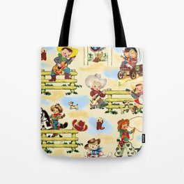 Sunday on the Ranch cowboy cowgirl western farm horse vintage style boots guitar Tote Bag