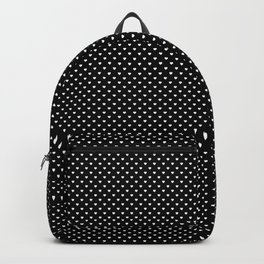 Classic White Polka Dot Hearts on Black Background Backpack