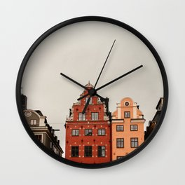 Stockholm, Sweden   Gamla Stan   old buildings   bright colors   colored houses   art print   travel photography   city print   Wall Clock