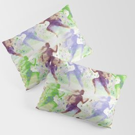 Watercolor women runner pattern Brown green blue Pillow Sham