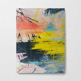 Adventurer: A vibrant abstract mixed-media piece in pink yellow and green by Alyssa Hamilton Art Metal Print