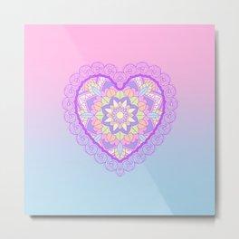 pastels mandala heart Metal Print