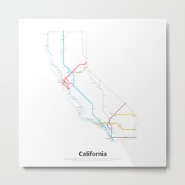 Highways of the USA – California Metal Print