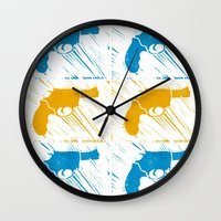 guns Wall Clocks featuring Guns by Chloe Bromfield