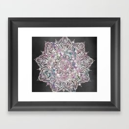 Dreams Mandala - Magical Purple on Gray Framed Art Print