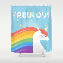 Fabulous Sparkling Rainbow Unicorn Shower Curtain