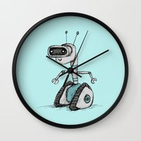 robot Wall Clocks featuring Robot by Sophie Corrigan